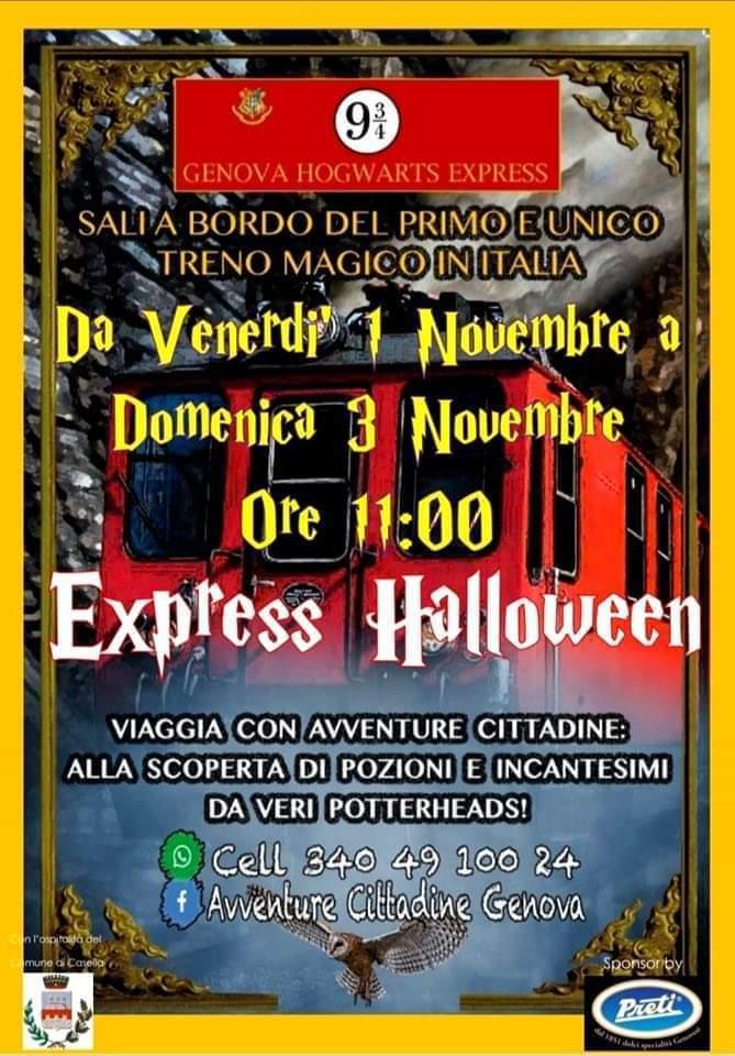 Sul Trenino di Casella con l'Hogwarts Express, si parte dal binario 9 e 3/4 di Genova Manin
