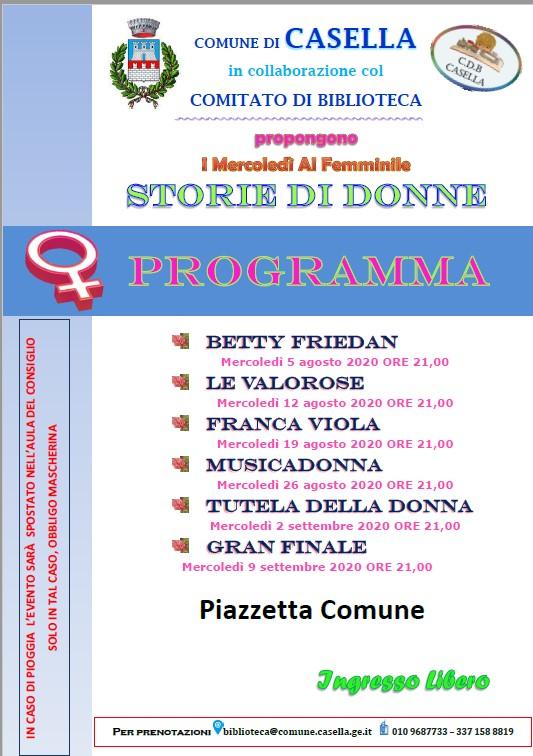 CdB – Programma: Storie di Donne